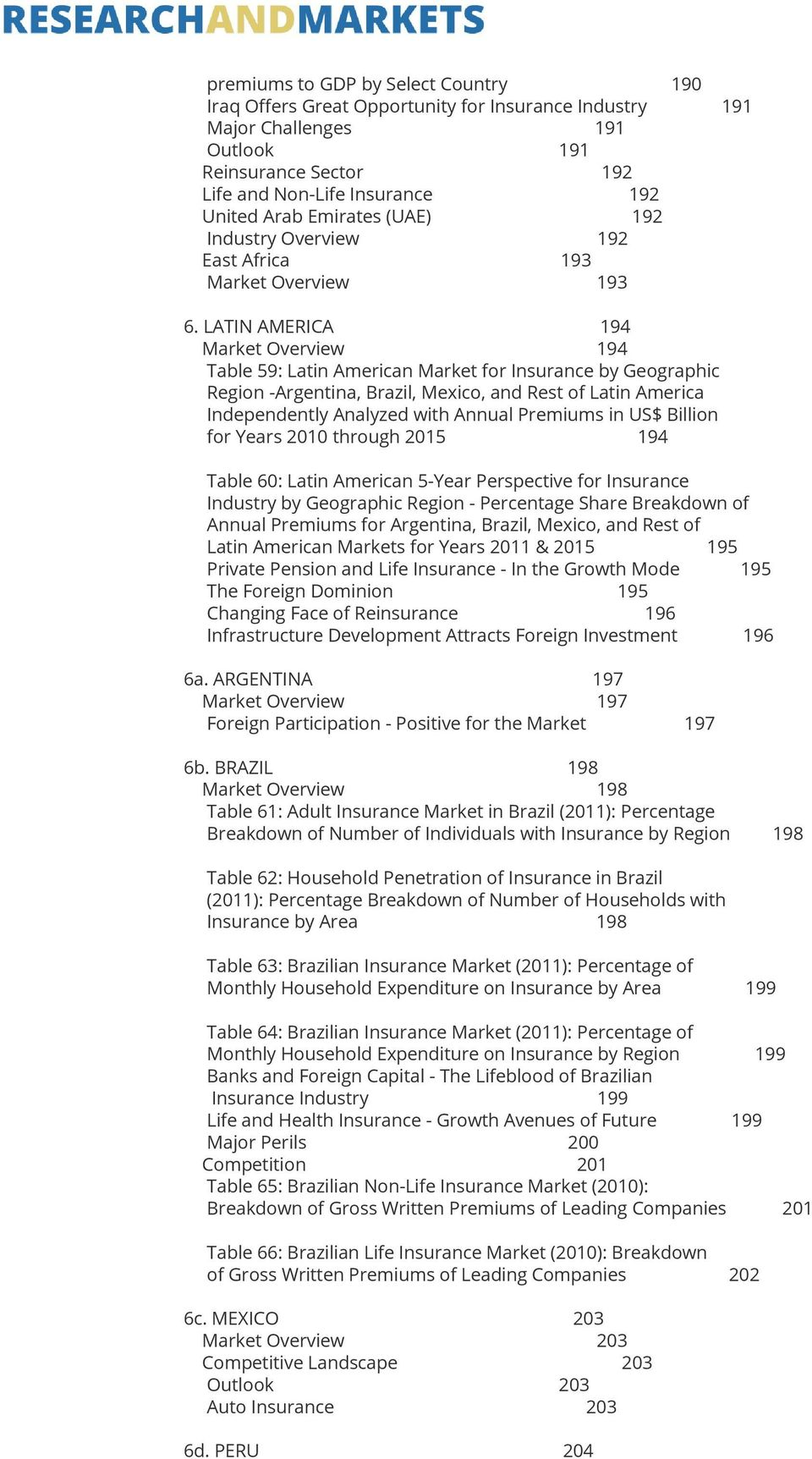 LATIN AMERICA 194 Market Overview 194 Table 59: Latin American Market for Insurance by Geographic Region -Argentina, Brazil, Mexico, and Rest of Latin America Independently Analyzed with Annual