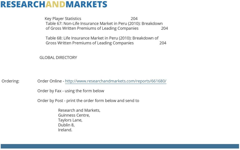 GLOBAL DIRECTORY Ordering: Order Online - http://www.researchandmarkets.