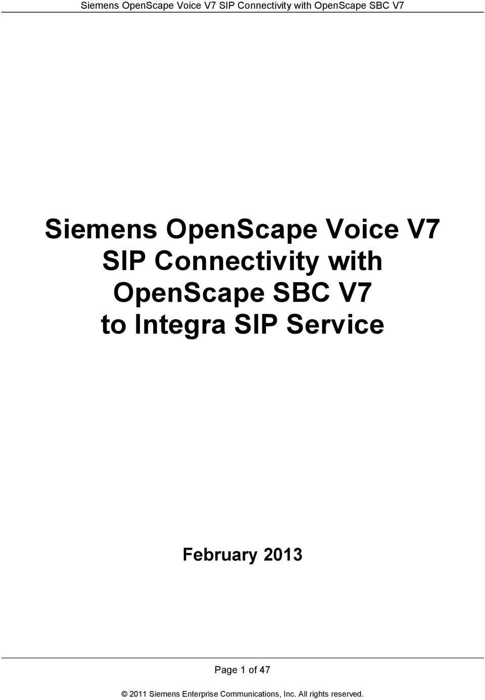 OpenScape SBC V7 to Integra