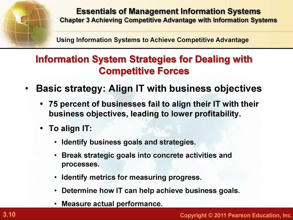 To align IT: Identify business goals and strategies. Break strategic goals into concrete activities and processes.
