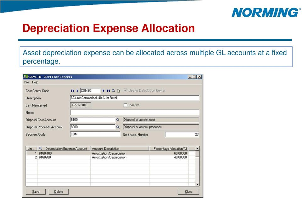 be allocated across multiple GL