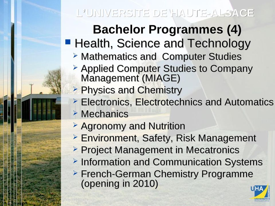 Electrotechnics and Automatics Mechanics Agronomy and Nutrition Environment, Safety, Risk Management Project