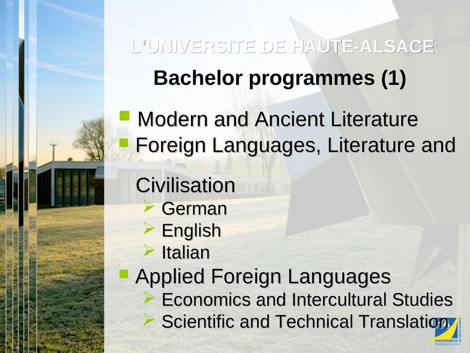 Civilisation German English Italian Applied Foreign Languages