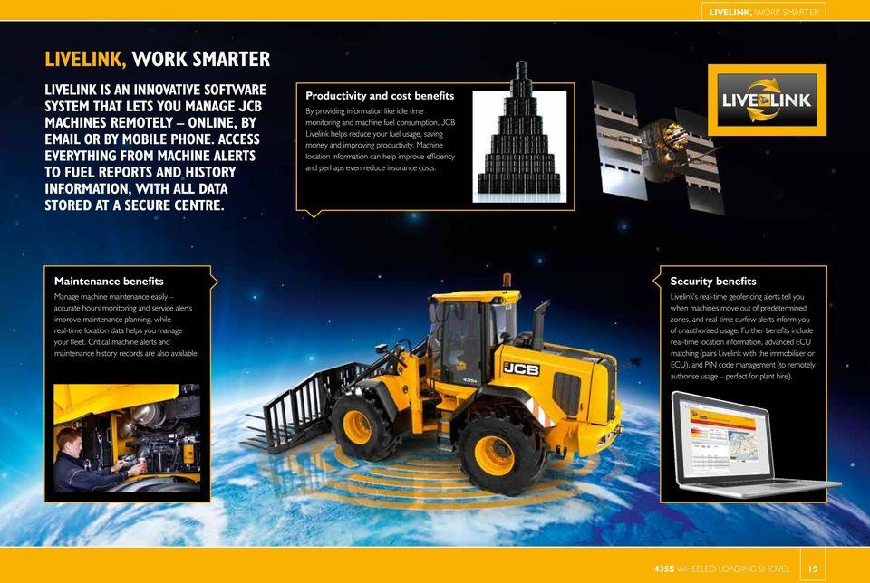 Productivity and cost benefits By providing information like idle time monitoring and machine fuel consumption, JCB Livelink helps reduce your fuel usage, saving money and improving productivity.