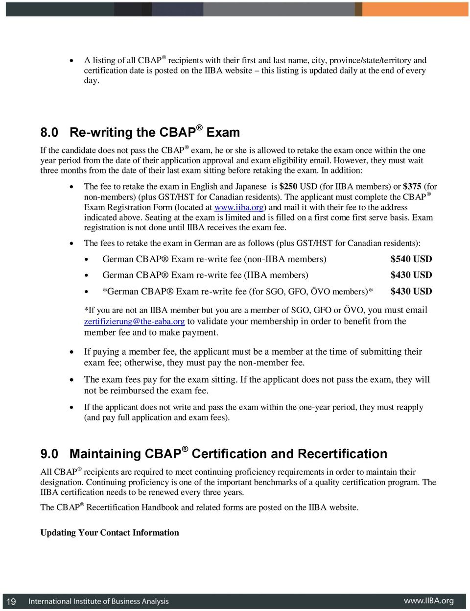 Certification Handbook The Iiba Guide To Gaining The Cbap