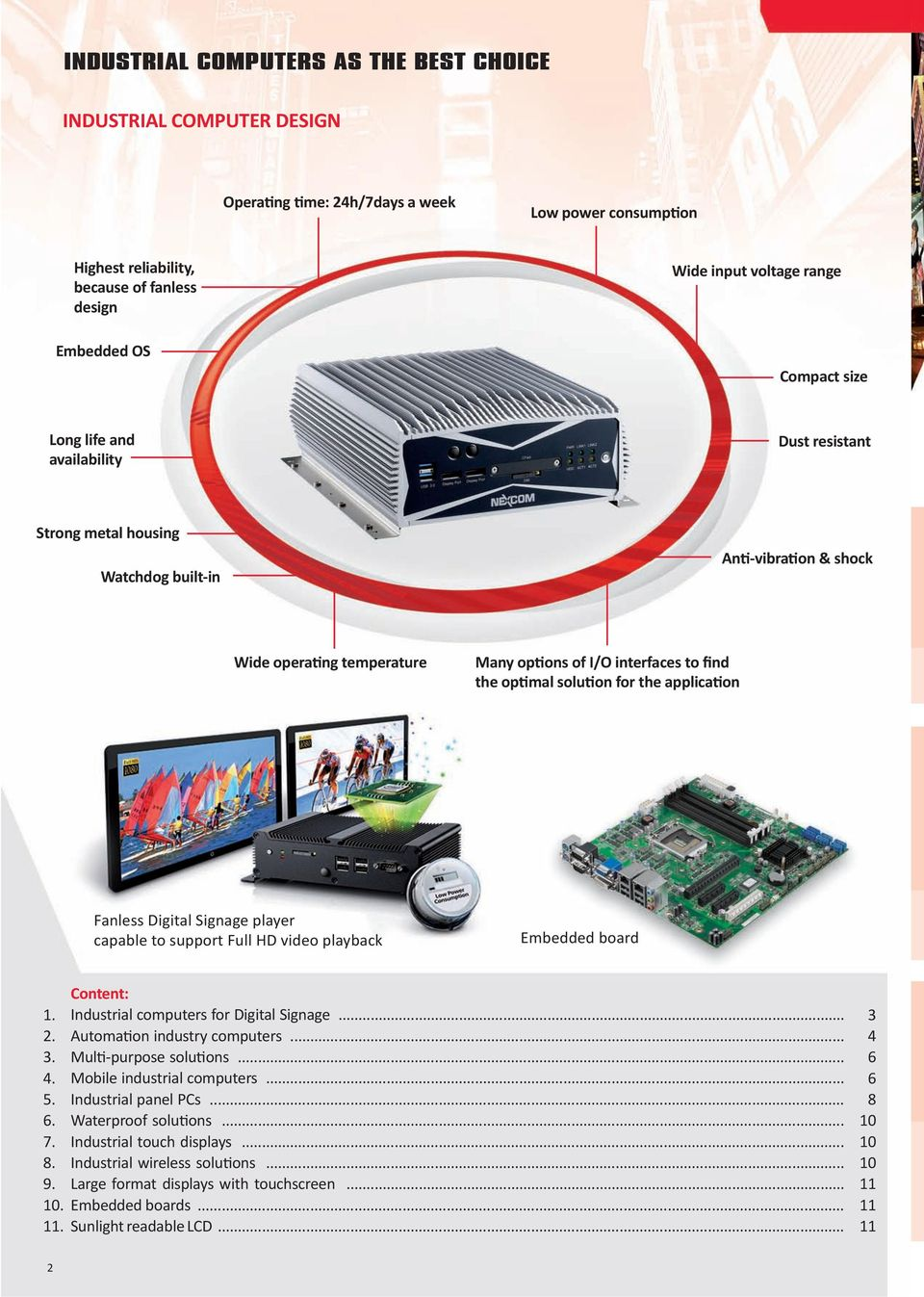 optimal solution for the application Fanless Digital Signage player capable to support Full HD video playback Embedded board 1. 2. 3. 4. 5. 6. 7. 8. 9. 10. 11.