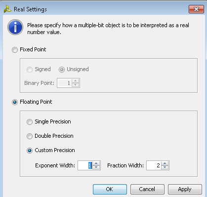 Controlling the Display of Waveforms X-Ref Target - Figure 5-7 Figure 5-7: The Real Setting dialog box options are: Real Settings Dialog Box Fixed Point: Specifies that the bits of the selected bus