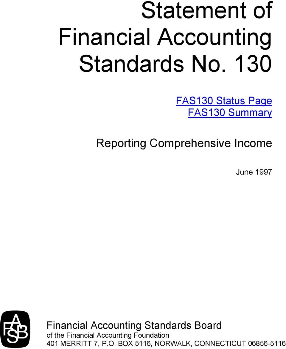 Income June 1997 Financial Accounting Standards Board of the