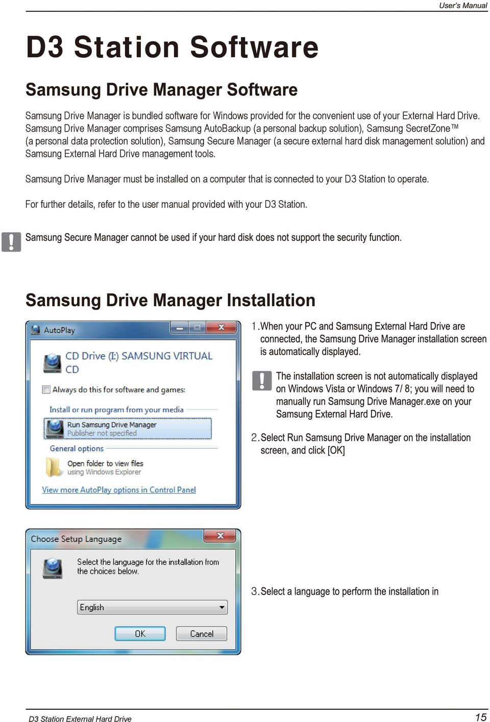 Samsung Secure Manager (a secure external hard disk management solution) and Samsung External Hard Drive management tools.