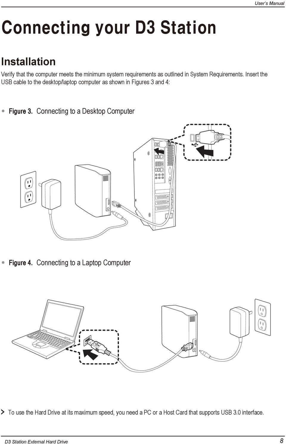 Insert the USB cable to the desktop/laptop computer as shown in Figures 3 and 4: Figure 3.