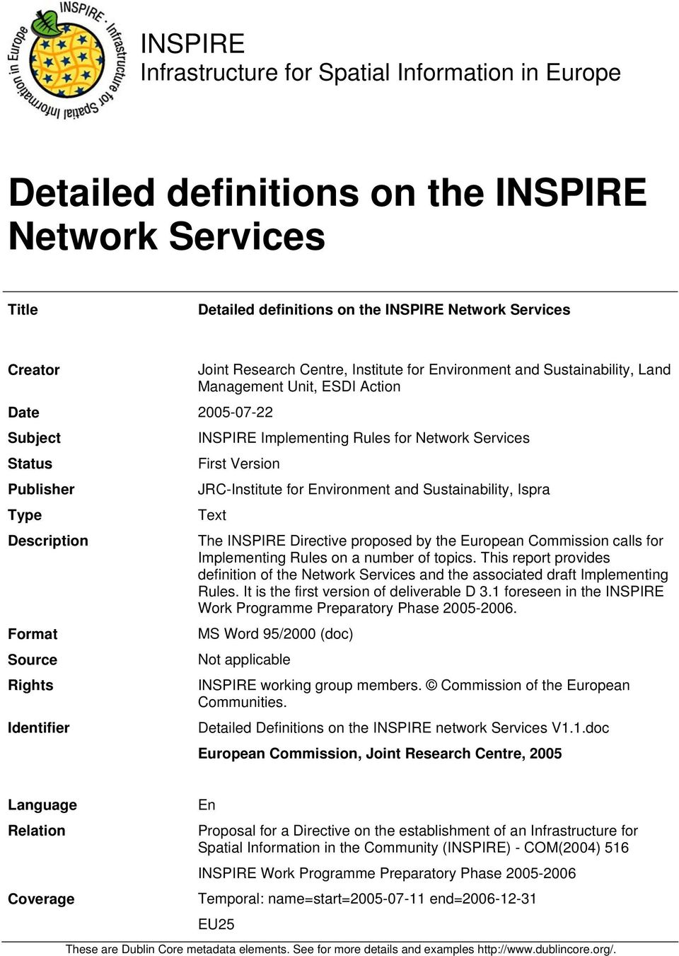 Rules for Network Services First Version JRC-Institute for Environment and Sustainability, Ispra Text The INSPIRE Directive proposed by the European Commission calls for Implementing Rules on a