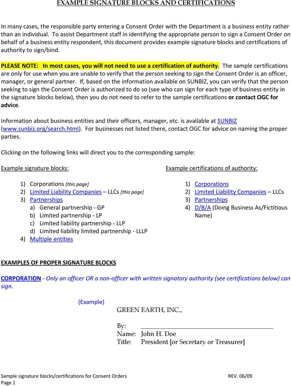 Example signature blocks and certifications pdf for Corporate resolution authorized signers template
