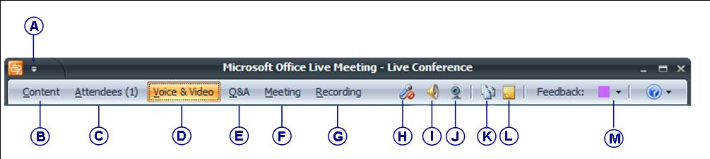 Microsoft Office Live Meeting client Figure 3 below shows the Menu Bar menu items and icons.