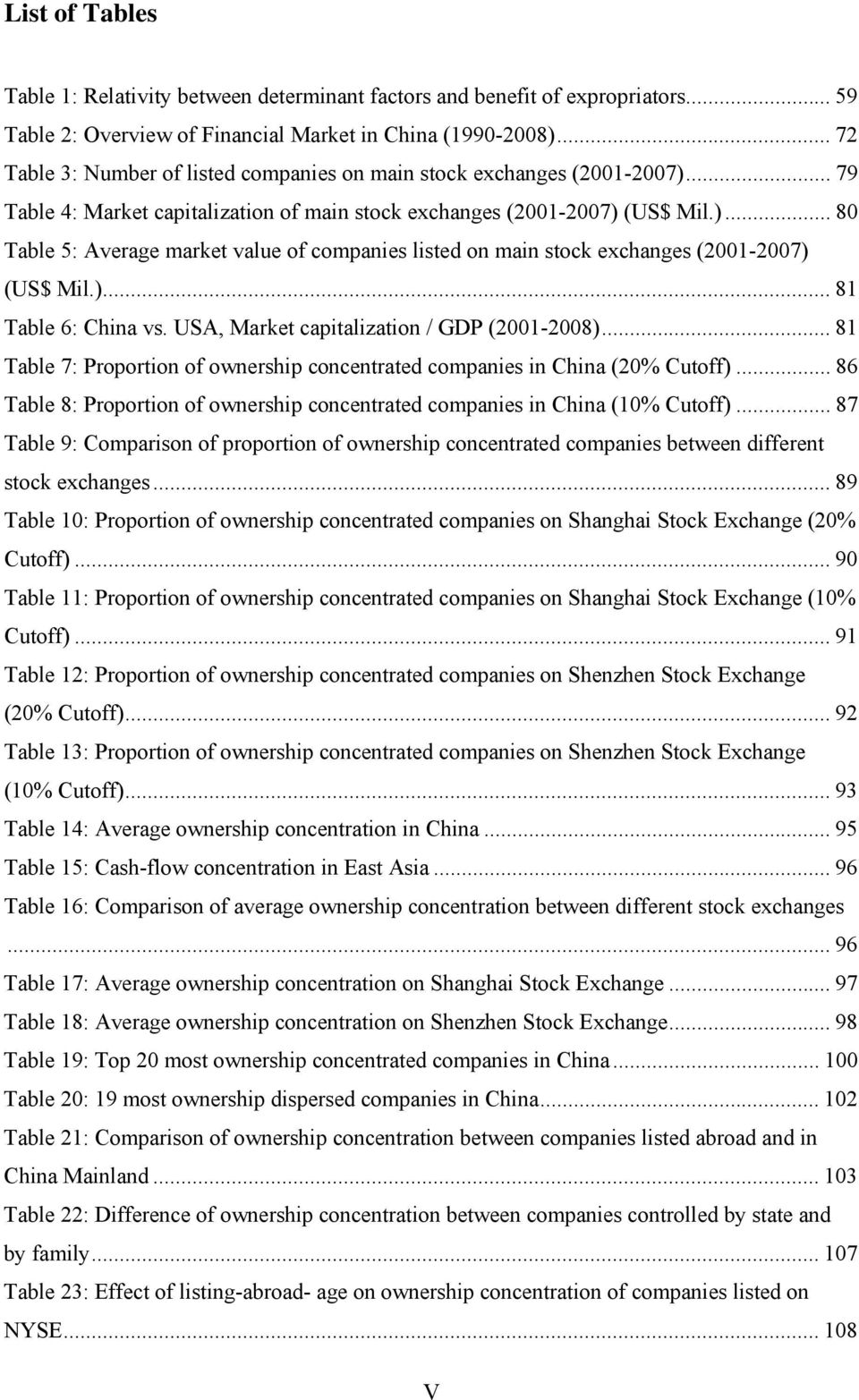 )... 8 Table 6: China v. USA, Marke capializaion / GDP (200-2008)... 8 Table 7: Proporion of ownerhip concenraed companie in China (20% Cuoff).