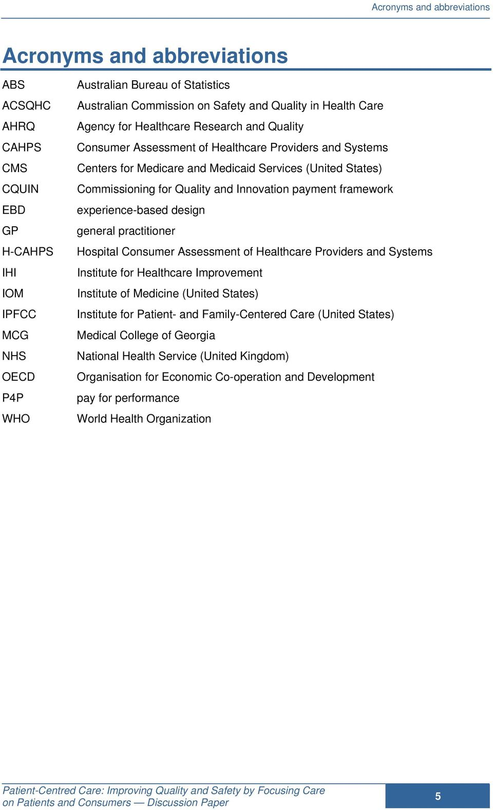 for Quality and Innovation payment framework experience-based design general practitioner Hospital Consumer Assessment of Healthcare Providers and Systems Institute for Healthcare Improvement