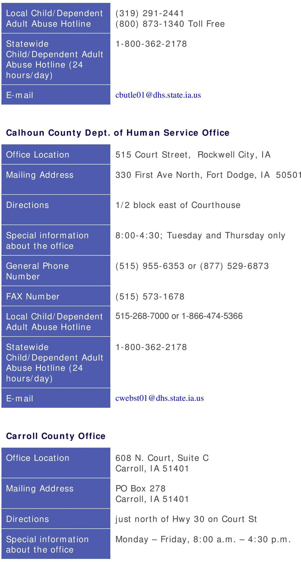 Courthouse 8:00-4:30; Tuesday and Thursday only (515) 955-6353 or (877) 529-6873 FAX (515) 573-1678 515-268-7000 or 1-866-474-5366
