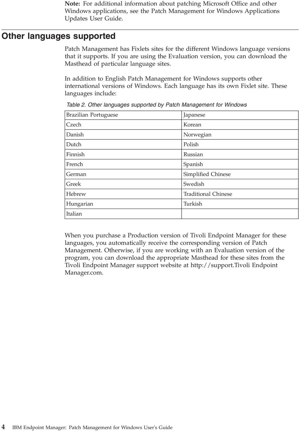In addition to English Patch Management for Windows supports other international versions of Windows. Each language has its own Fixlet site. These languages include: Table 2.
