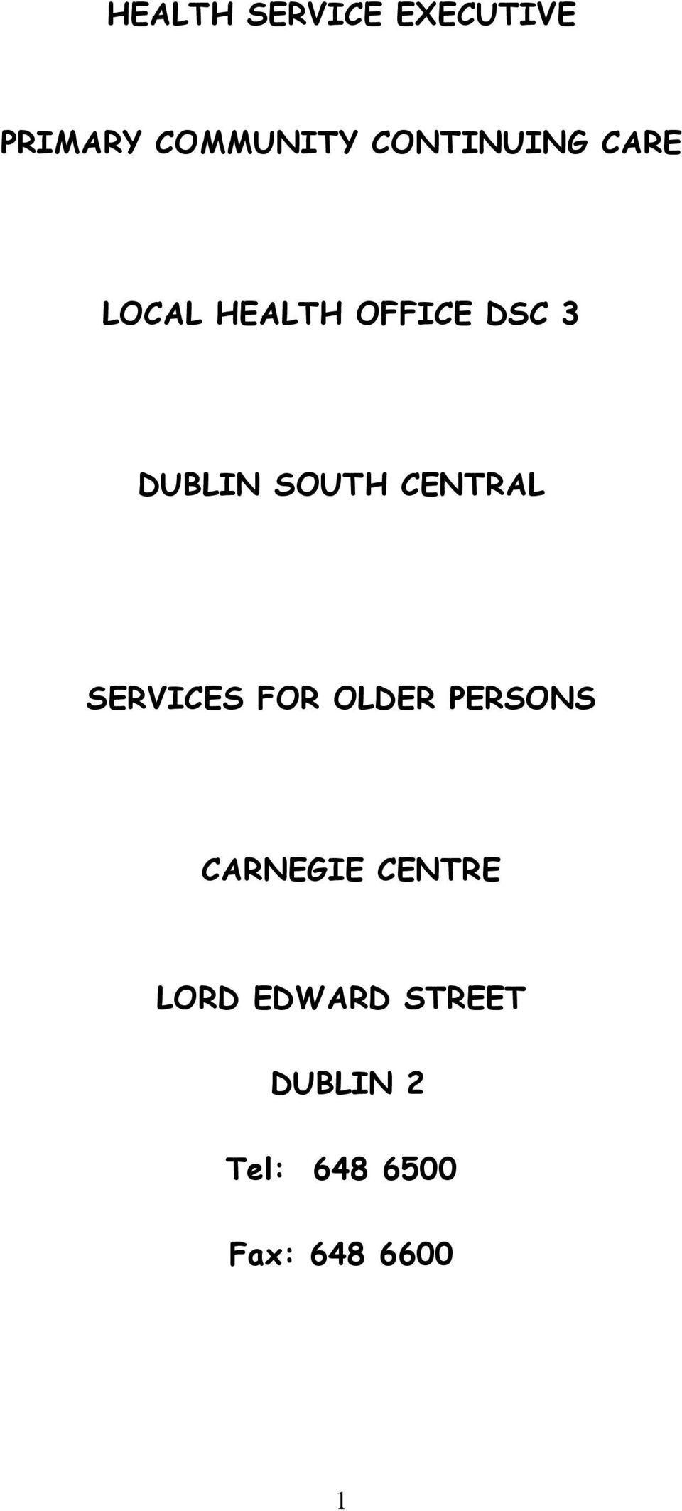 SOUTH CENTRAL SERVICES FOR OLDER PERSONS CARNEGIE