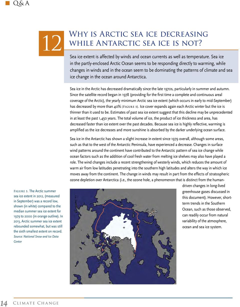 ocean around Antarctica. Sea ice in the Arctic has decreased dramatically since the late 1970s, particularly in summer and autumn.