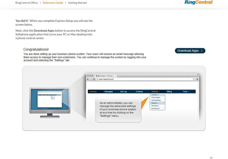 Next, click the Download Apps button to access the RingCentral