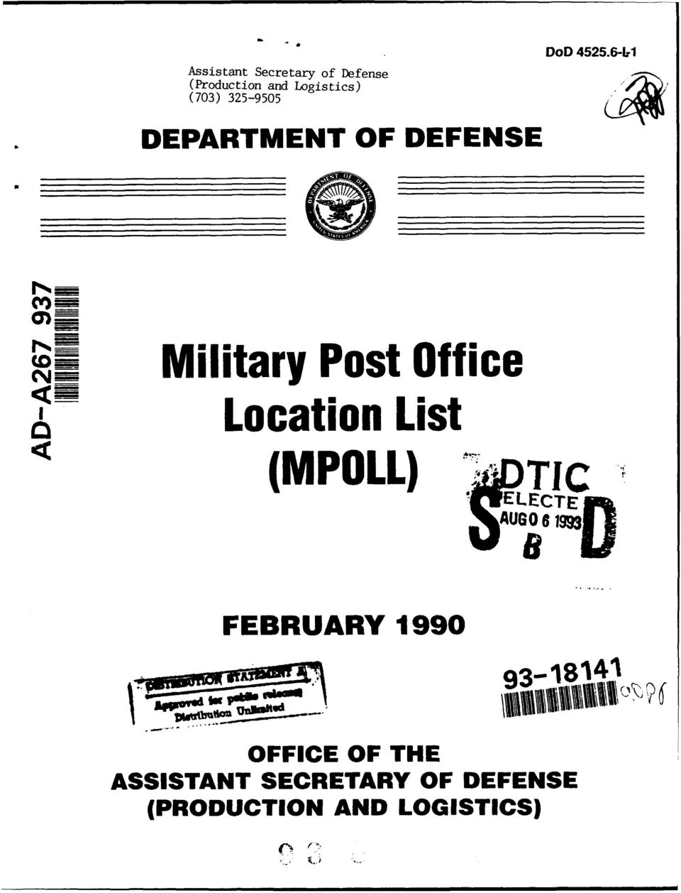 6-L1 DEPARTMENT OF DEFENSE Z_ Military Post Office, Location List