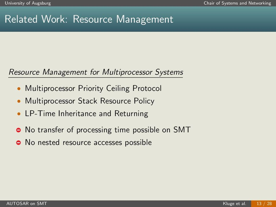 Resource Policy LP-Time Inheritance and Returning No transfer of processing