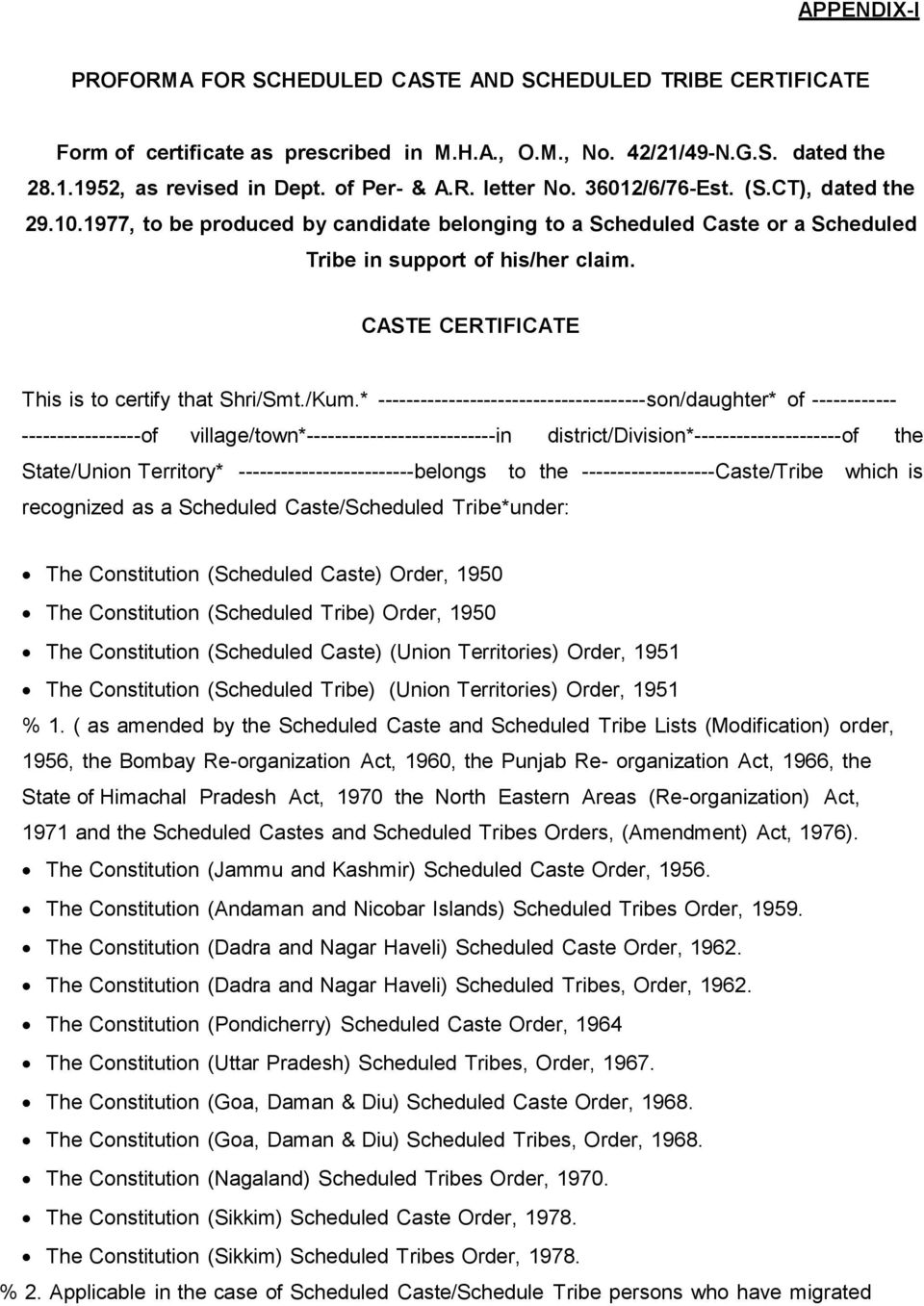 CASTE CERTIFICATE This is to certify that Shri/Smt./Kum.