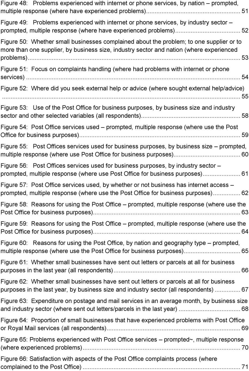 .. 52 Figure 50: Whether small businesses complained about the problem; to one supplier or to more than one supplier, by business size, industry sector and nation (where experienced problems).