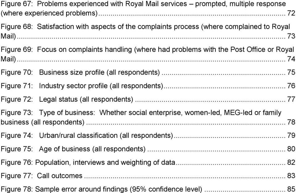 .. 73 Figure 69: Focus on complaints handling (where had problems with the Post Office or Royal Mail)... 74 Figure 70: Business size profile (all respondents).