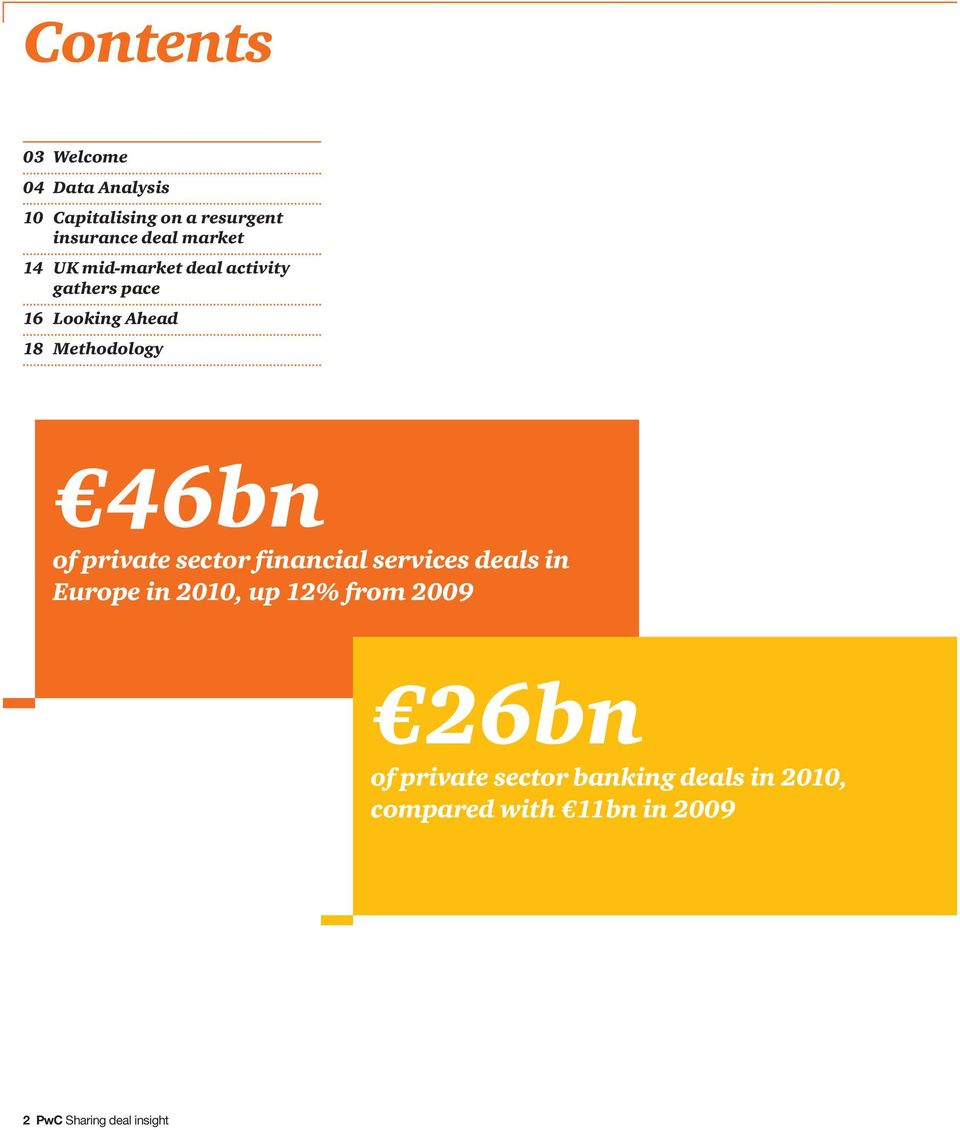of private sector financial services deals in Europe in 2010, up 12% from 2009 26bn of