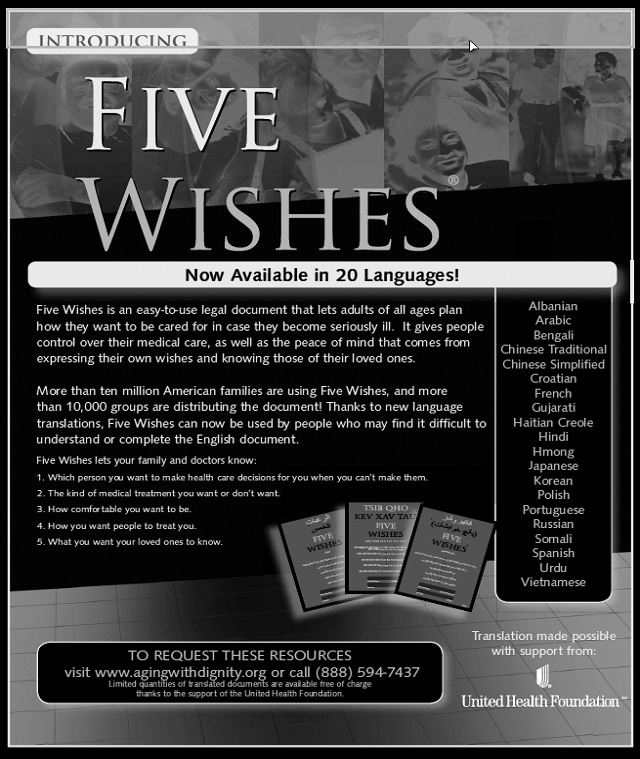 Five Wishes Used with permission from Paul D.
