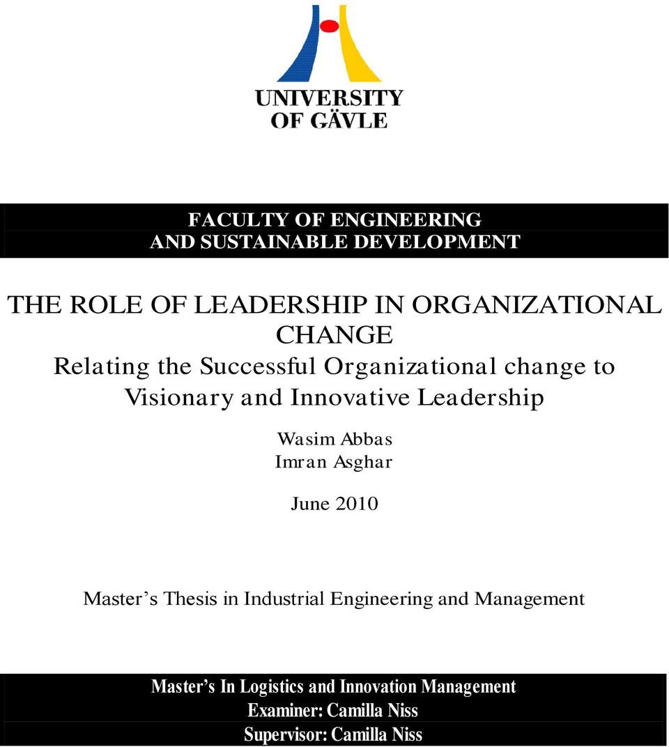 Role of leadership and management in organizational change essay