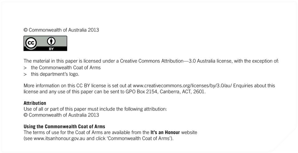 org/licenses/by/3.0/au/ Enquiries about this license and any use of this paper can be sent to GPO Box 2154, Canberra, ACT, 2601.