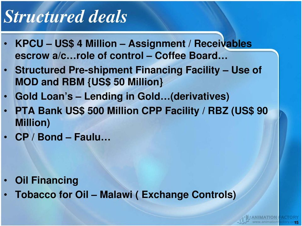 Million} Gold Loan s Lending in Gold (derivatives) PTA Bank US$ 500 Million CPP Facility