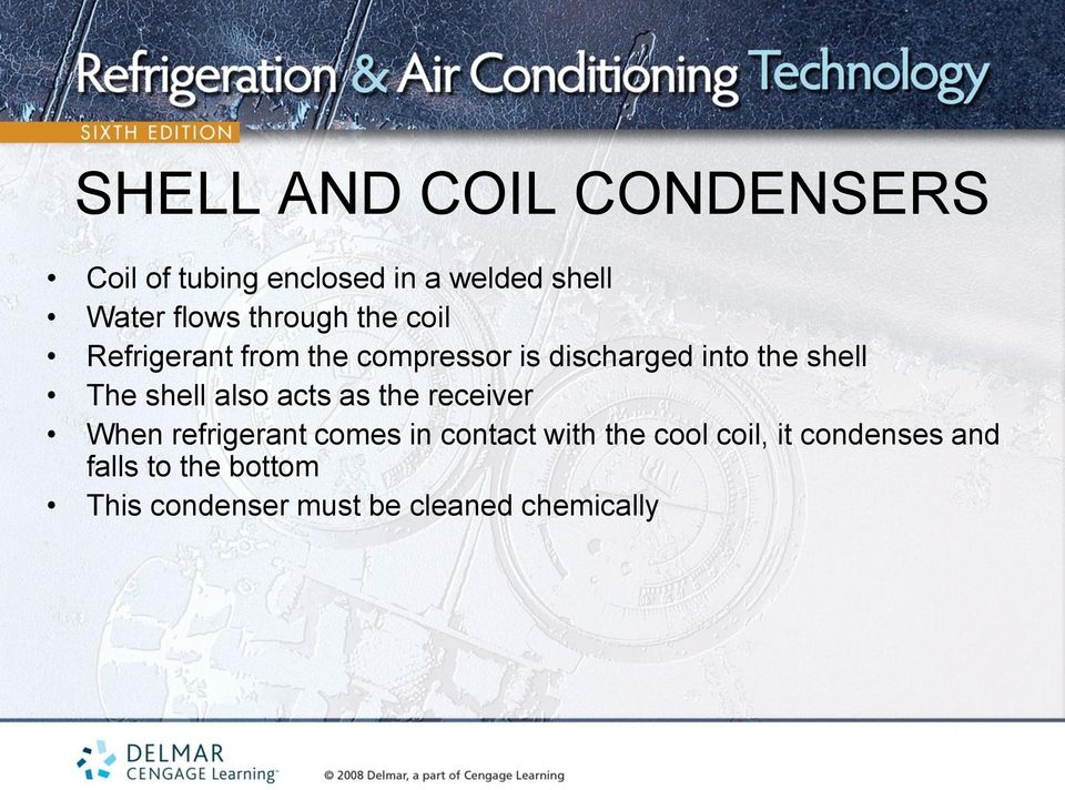 shell also acts as the receiver When refrigerant comes in contact with the cool