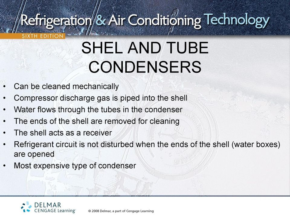 are removed for cleaning The shell acts as a receiver Refrigerant circuit is not