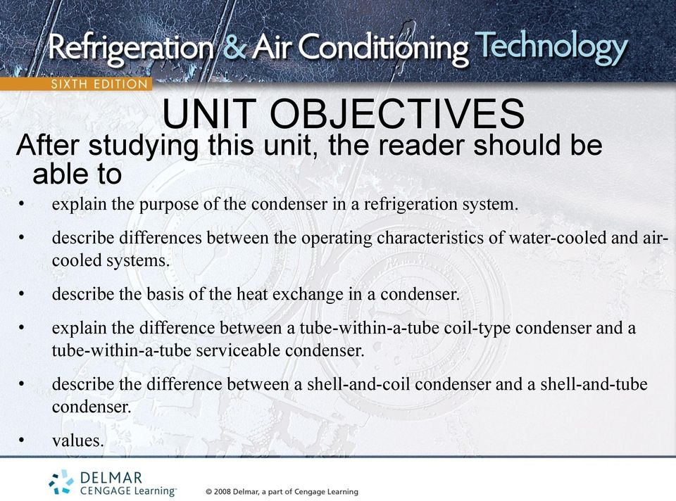 describe the basis of the heat exchange in a condenser.
