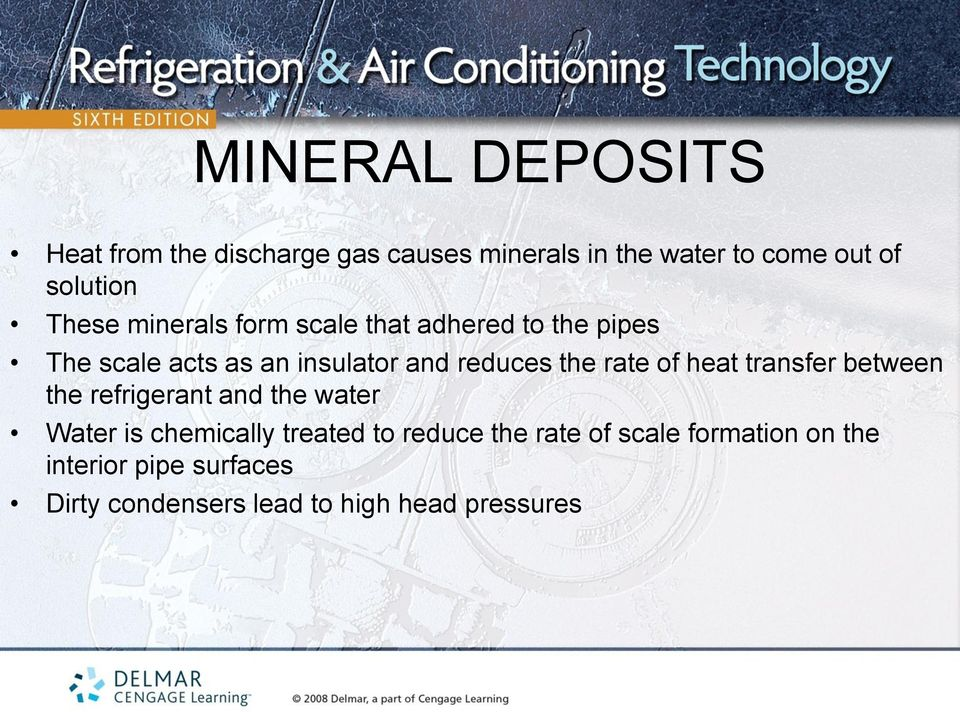 rate of heat transfer between the refrigerant and the water Water is chemically treated to reduce