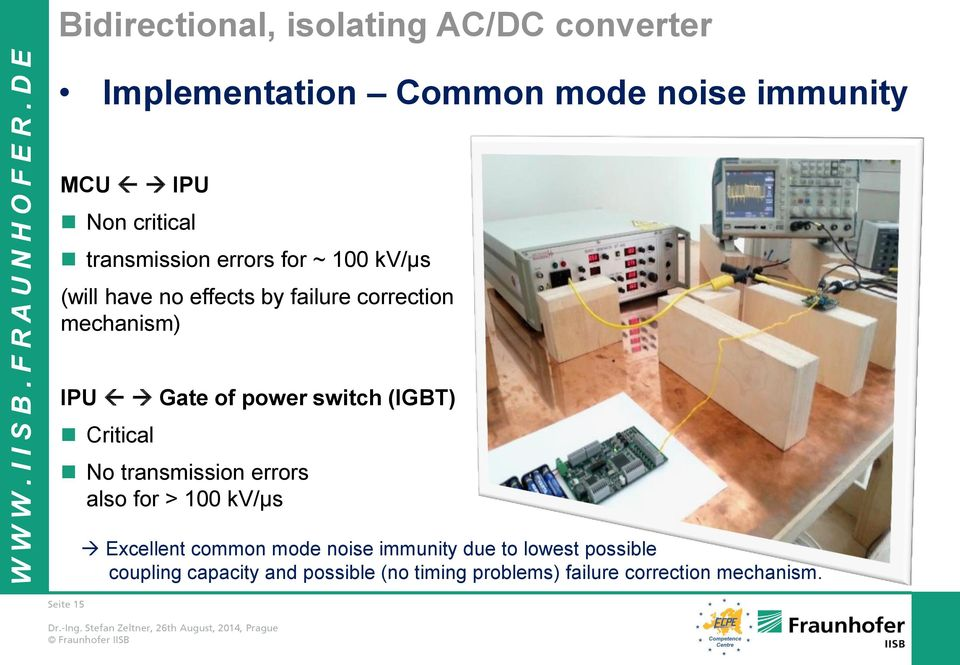 Critical No transmission errors also for > 100 kv/µs Seite 15 Excellent common mode noise