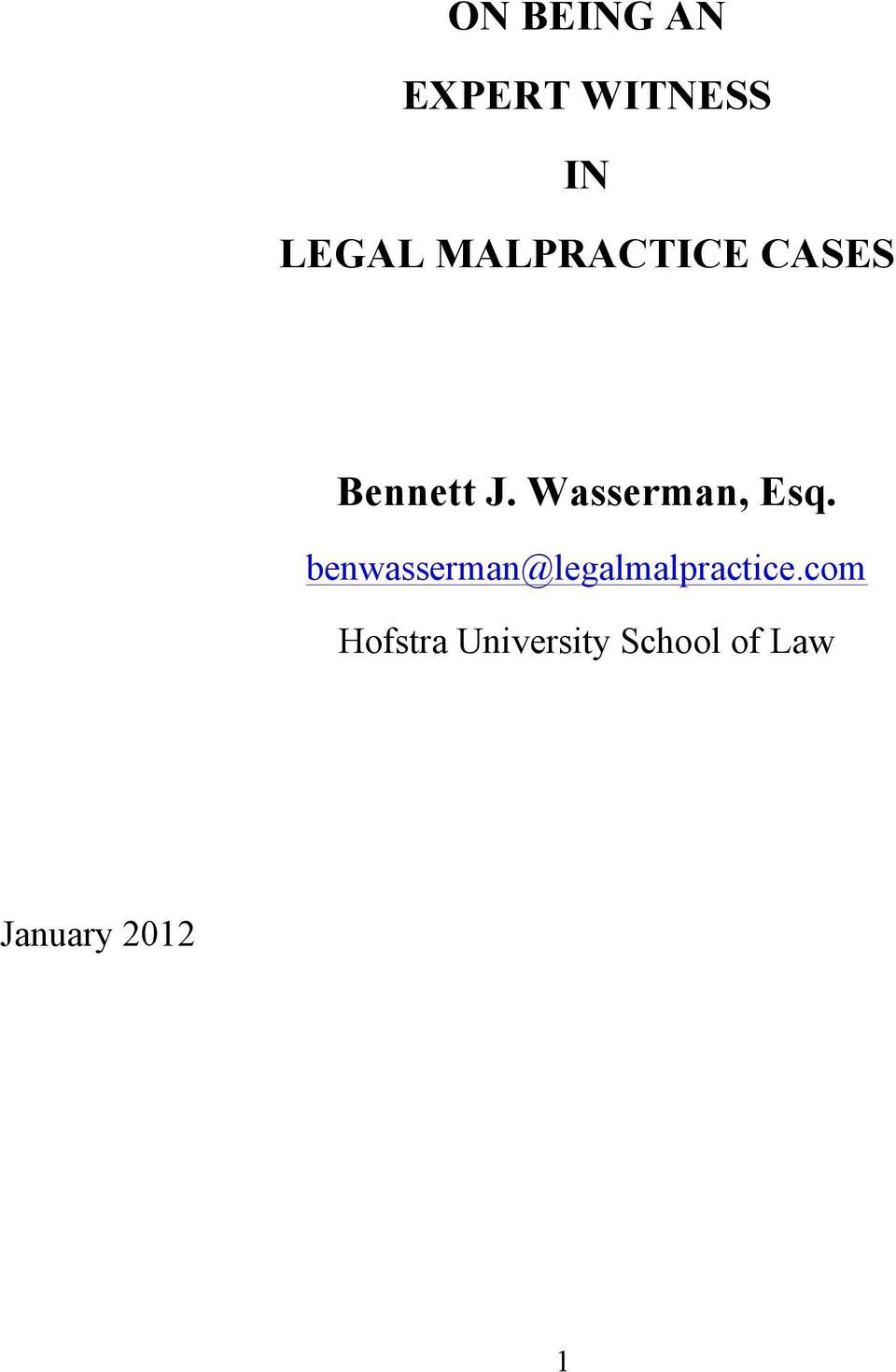 Wasserman, Esq.