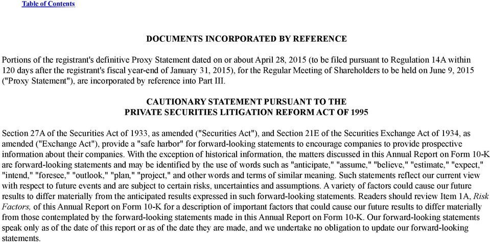"CAUTIONARY STATEMENT PURSUANT TO THE PRIVATE SECURITIES LITIGATION REFORM ACT OF 1995 Section 27A of the Securities Act of 1933, as amended (""Securities Act""), and Section 21E of the Securities"