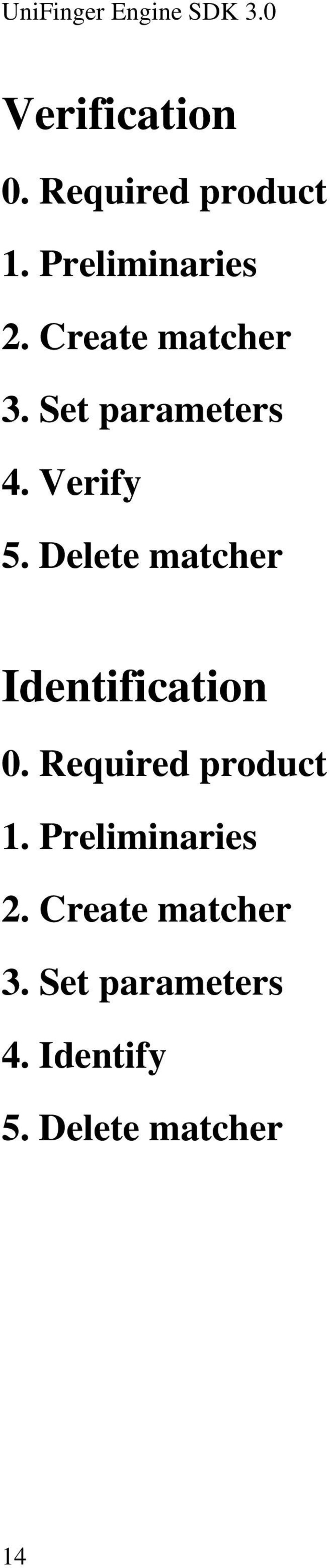 Delete matcher Identification 0. Required product 1.