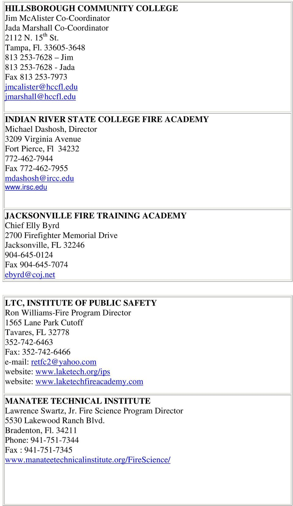 edu JACKSONVILLE FIRE TRAINING ACADEMY Chief Elly Byrd 2700 Firefighter Memorial Drive Jacksonville, FL 32246 904-645-0124 Fax 904-645-7074 ebyrd@coj.
