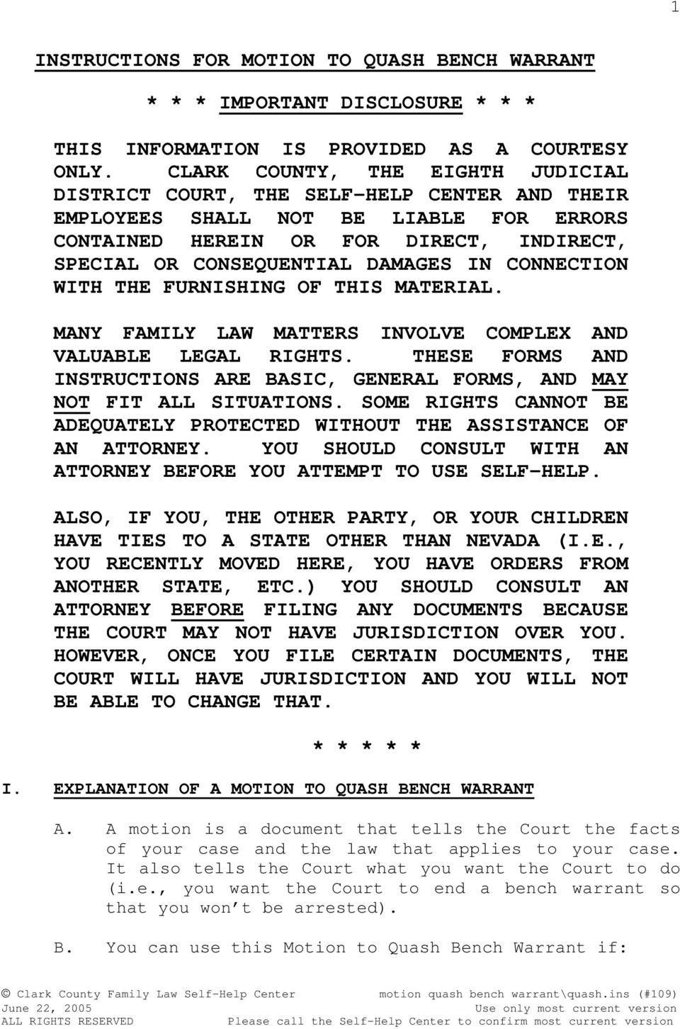 Motion to quash bench warrant pdf connection with the furnishing of this material many family law matters involve complex and valuable solutioingenieria Gallery