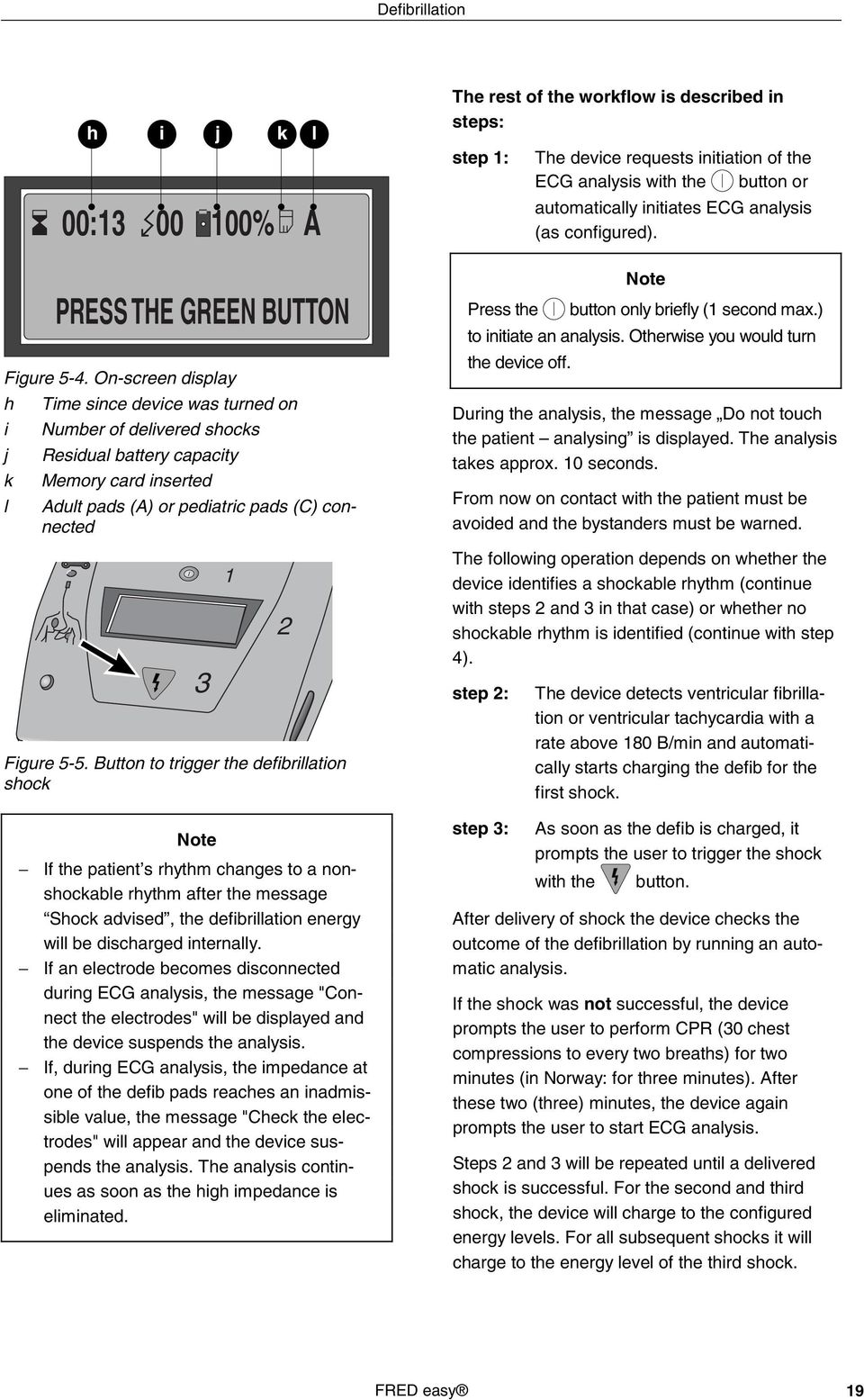 Button to trigger the defibrillation shock Note If the patient s rhythm changes to a nonshockable rhythm after the message Shock advised, the defibrillation energy will be discharged internally.