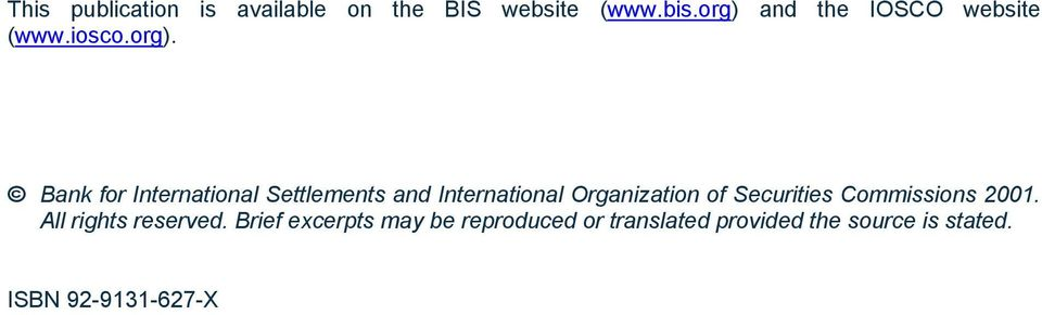 and International Organization of Securities Commissions 2001.