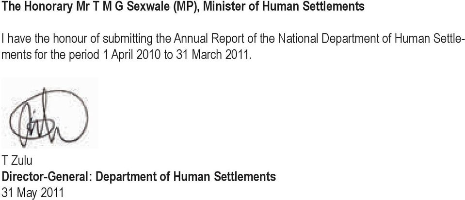 Department of Human Settlements for the period 1 April 2010 to 31