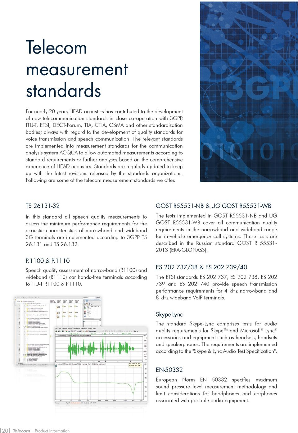 The relevant standards are implemented into measurement standards for the communication analysis system ACQUA to allow automated measurements according to standard requirements or further analyses