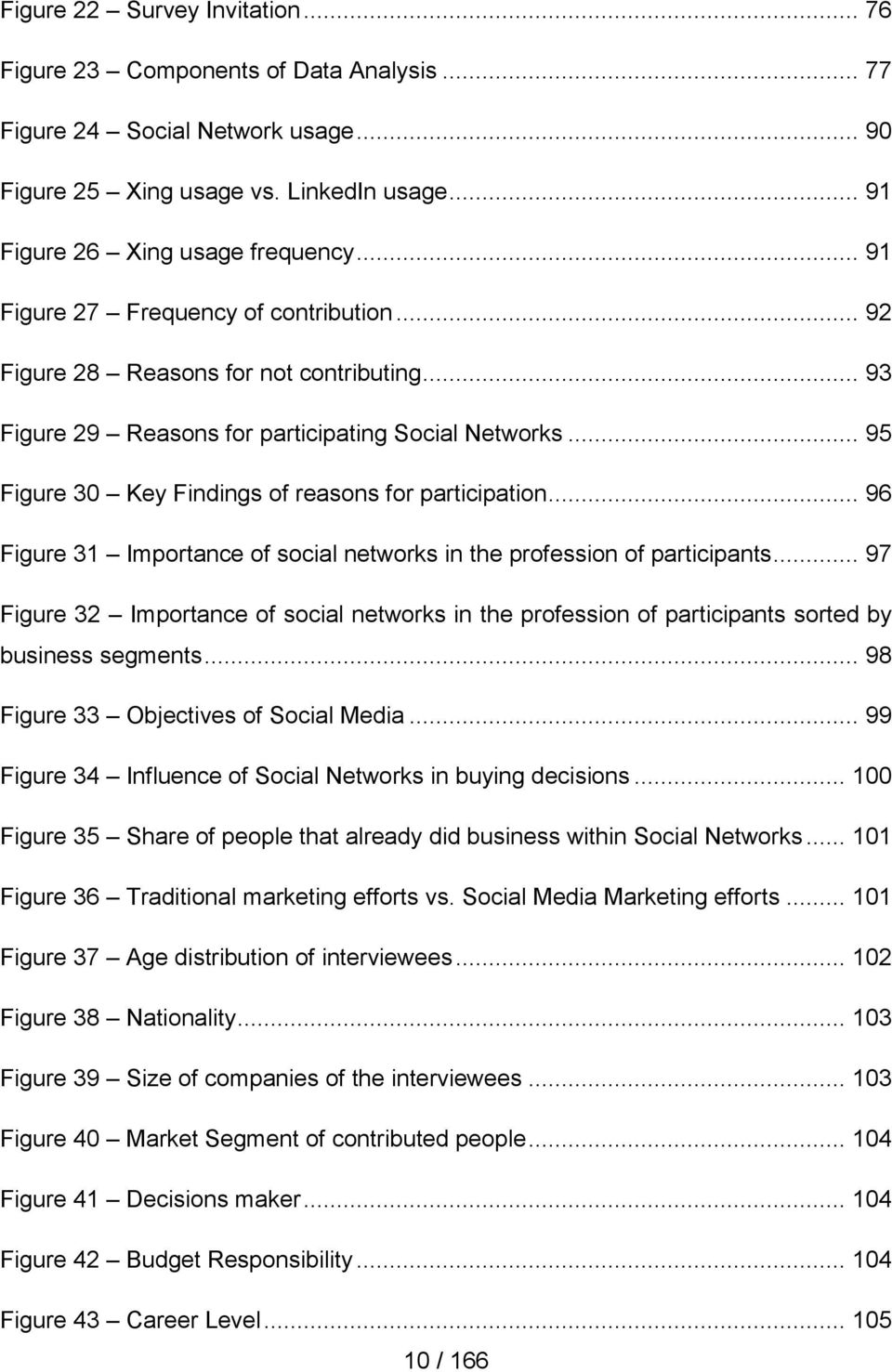 .. 95 Figure 30 Key Findings of reasons for participation... 96 Figure 31 Importance of social networks in the profession of participants.