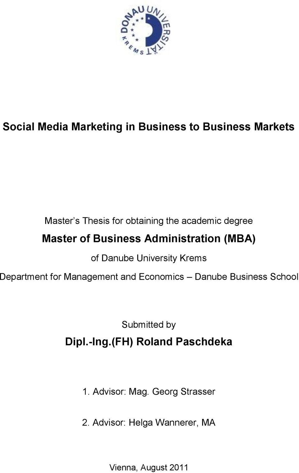 Department for Management and Economics Danube Business School Submitted by Dipl.-Ing.